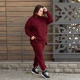 Теплый вязаный БАТАЛЬНЫЙ костюм оверсайз Бордовый с 42 по 62 размер