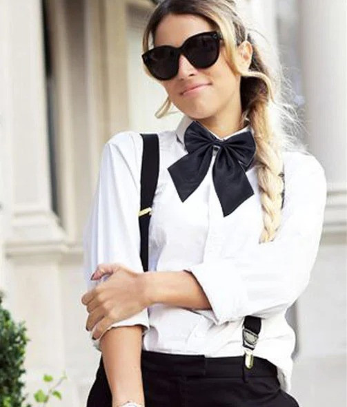 Женский галстук бабочка черного цвета