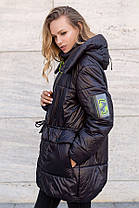 Трендовая удлиненная женская куртка оверсайз на силиконе, большого размера от 46 до 52, фото 2