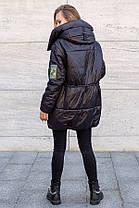 Трендовая удлиненная женская куртка оверсайз на силиконе, большого размера от 46 до 52, фото 3