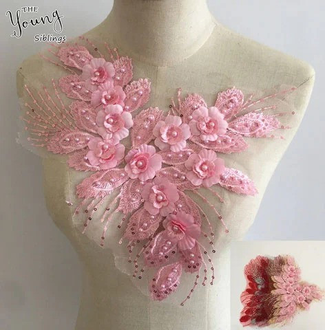 Пришивная аппликация на одежду Цветы розовые