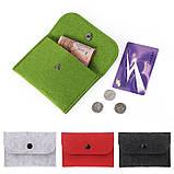 Черный кошелек монетница на кнопке, фото 3
