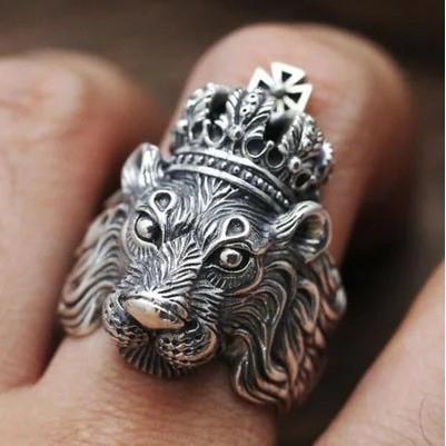 Перстень Лев мужской серебристый