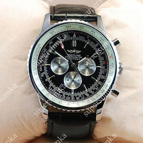 Часы наручные мужские Breitling Silver/White-Black 205 механические