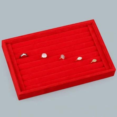 Планшет для колец бархатный красный