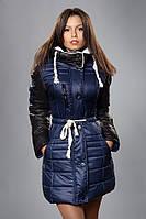 Зимняя женская молодежная куртка. Код К-50-12-15. Цвет темно синий с черным.