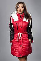 Зимняя женская молодежная куртка. Код К-50-12-15. Цвет красный с черным.