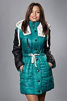 Зимняя женская молодежная куртка. Код К-50-12-15. Цвет бирюза с черным.
