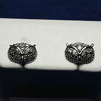 Серебряные серьги-гвоздики Сова с фианитом 2100б, фото 1