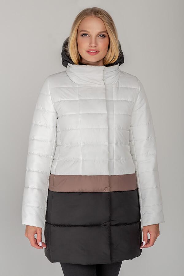 Белая женская куртка с цветными полосками демисезон, большого размера от 42 до 52