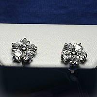 Серьги-пусеты из серебра с цирконием Цветы 2236, фото 1