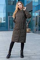 Подовжене жіноче пальто з плащової тканини еврозима, колір хакі, великого розміру від 46 до 56, фото 3