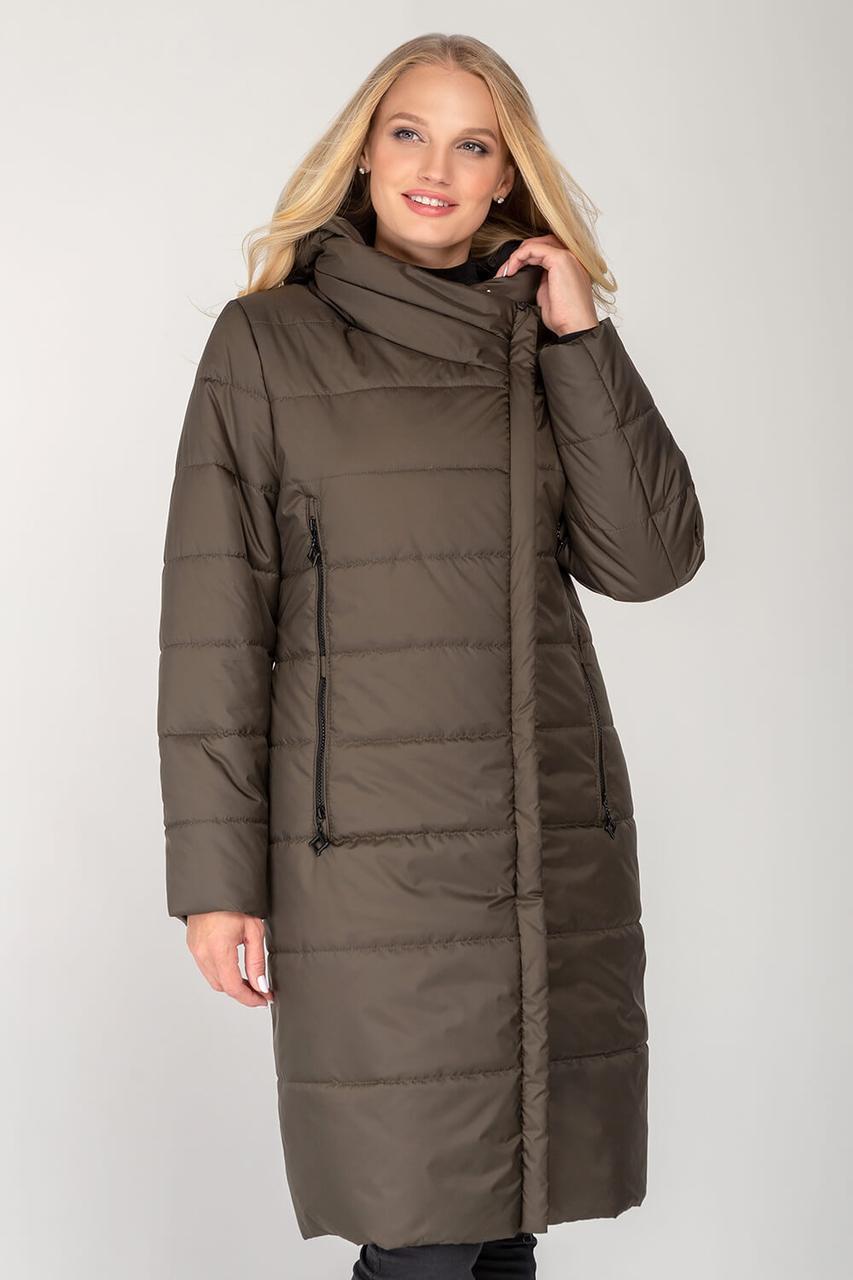 Подовжене жіноче пальто з плащової тканини еврозима, колір хакі, великого розміру від 46 до 56