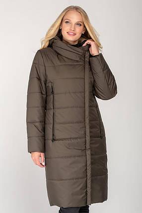 Подовжене жіноче пальто з плащової тканини еврозима, колір хакі, великого розміру від 46 до 56, фото 2