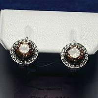 Серебряные серьги с янтарным цирконием 21090, фото 1