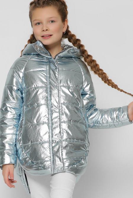 Куртка демисезонная серебристо-голубого цвета для девочки, Junior Collection