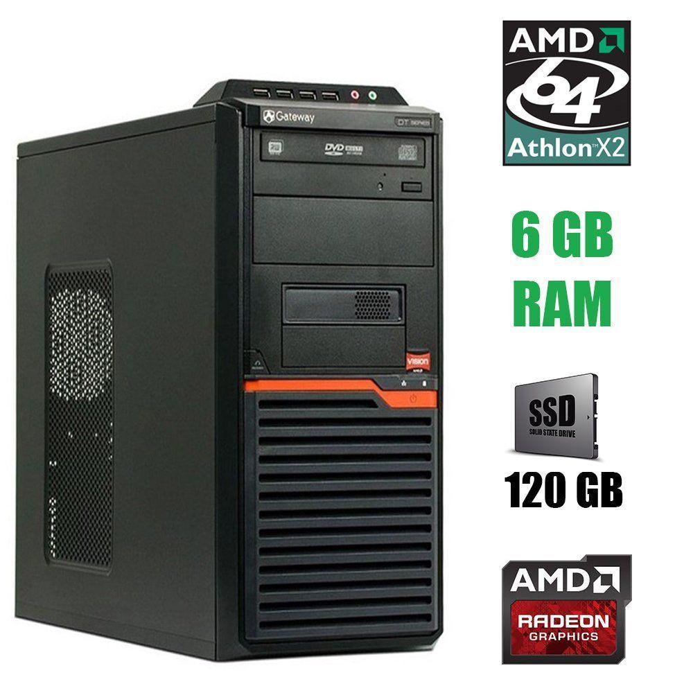 Acer DT55 Tower / Athlon II X2 215 (2 ядра по 2.7 GHz) / 6 GB DDR3 / 120 GB SSD / AMD Radeon HD 7470 1 GB