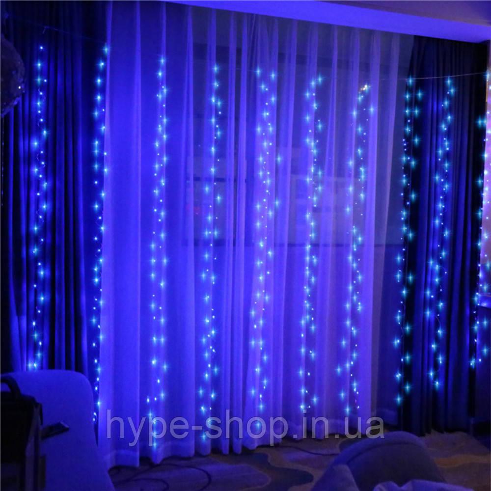 Гирлянда штора, 3*1.5 м, 240 LED, синяя, с переходником
