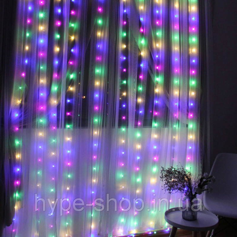 Гирлянда штора, 3*2 м, 280 LED, мультицвет, с переходником