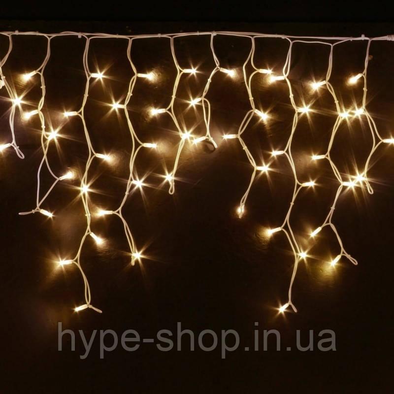 Уличная гирлянда бахрома золото 5 м, 120 LED, с переходником, белый провод