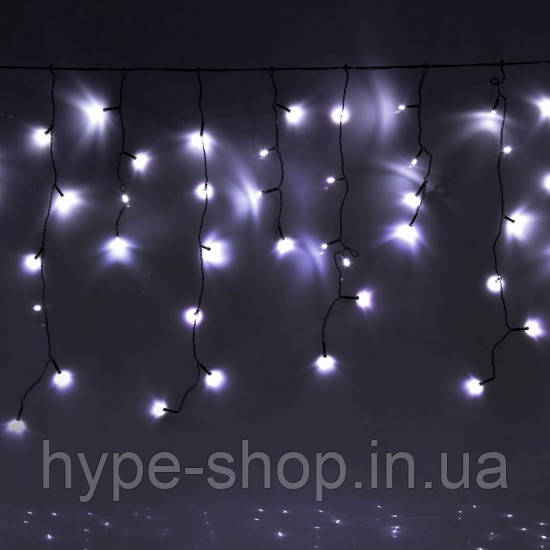 Уличная гирлянда бахрома белый 5 м, 120 LED, с переходником, черный провод