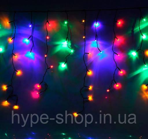 Вулична гірлянда бахрома мультиколір 5 м, 120 LED, з перехідником, чорний провід