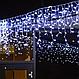 Уличная гирлянда бахрома белый 5 м, 120 LED, с переходником, белый провод, фото 3