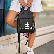 Женский черный кожаный рюкзак (Эко кожа) СК. Стильный, небольшой, удобный, повседневный рюкзачок, фото 3