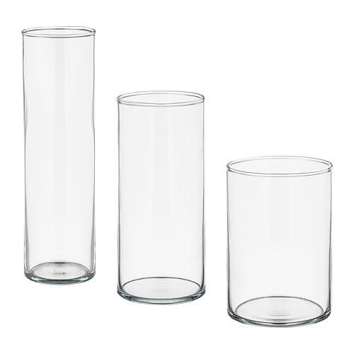 ИКЕА (IKEA) ЦИЛИНДР, 601.750.92, Набор ваз,3 штуки, прозрачное стекло - ТОП ПРОДАЖ