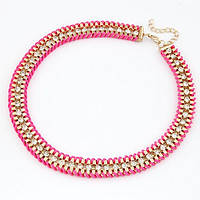 Ожерелье Ribbon-Wrapped Curb Chain - Золотая цепь с камнями обернута  розовой лентой