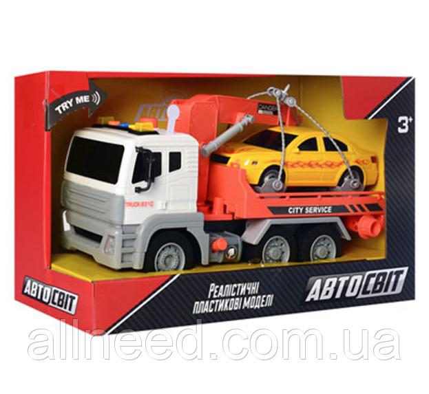 Машинка Эвакуатор АвтоСвіт AS-2610 на батарейке - таблетке (Оранжевый)