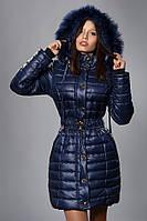 Зимняя женская молодежная куртка. Код К-52м-12-15. Цвет темно синий.