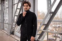 Мужская кофта флисовая на молнии черная SKL59-259553
