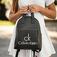 Стильный кожаный женский рюкзак Calvin Klein, кельвин кляйн. Черный