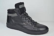 Мужские кожаные ботинки кеды зимние черные Maxus Фози 2