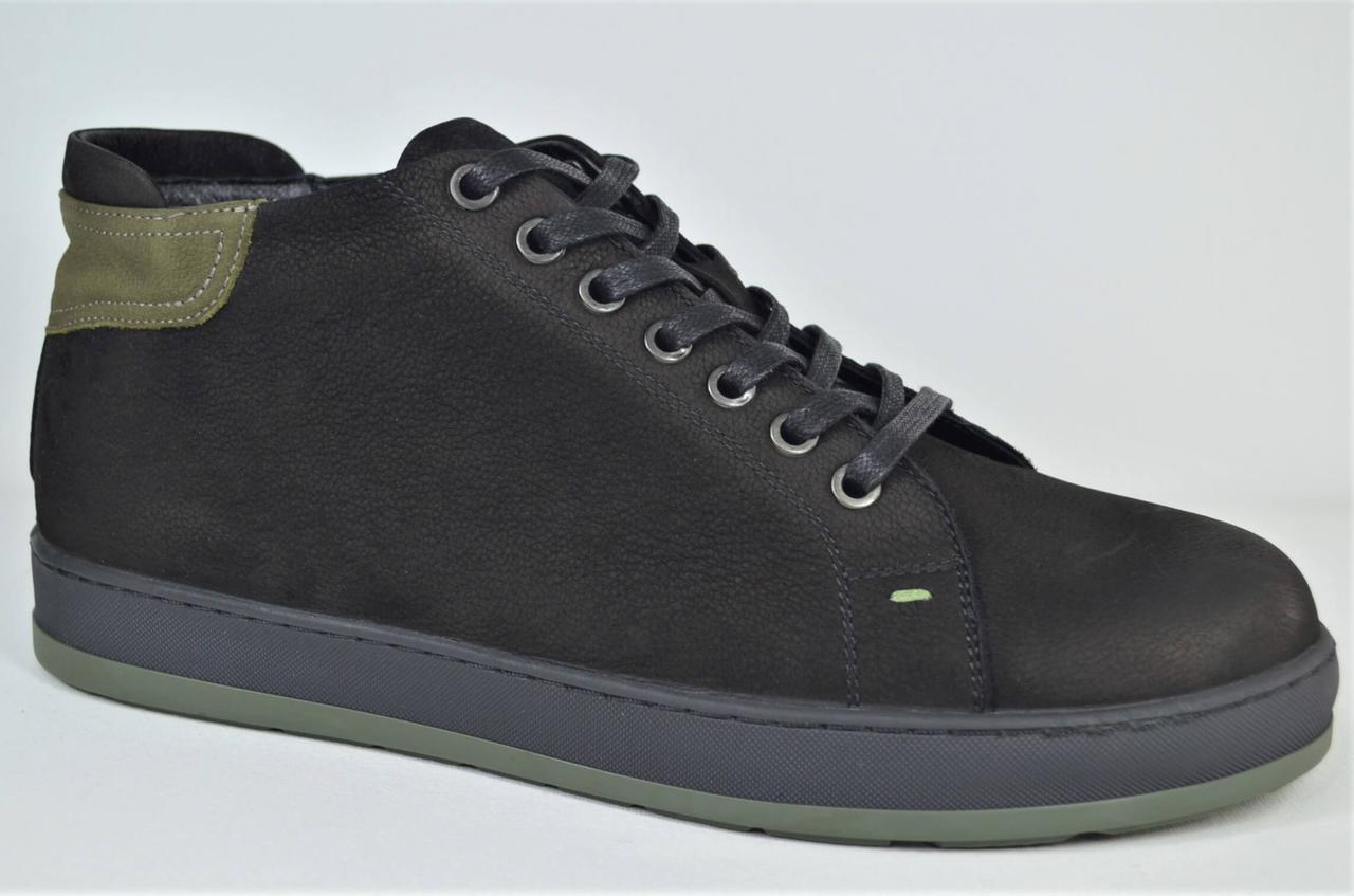 Мужские зимние нубуковые ботинки кеды черные с хаки Lucky Choice 89101416