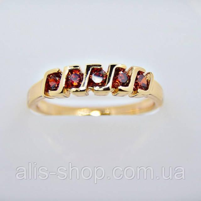 Позолоченное колечко в виде обручалки с оранжевыми фианитами 18 размер
