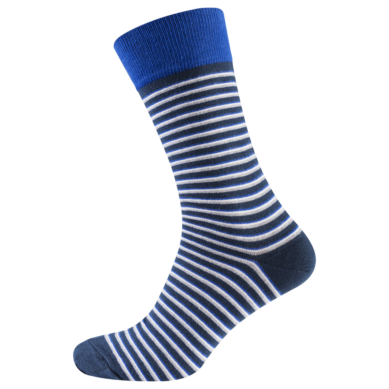 Носки мужские цветные из хлопка, синяя полоска