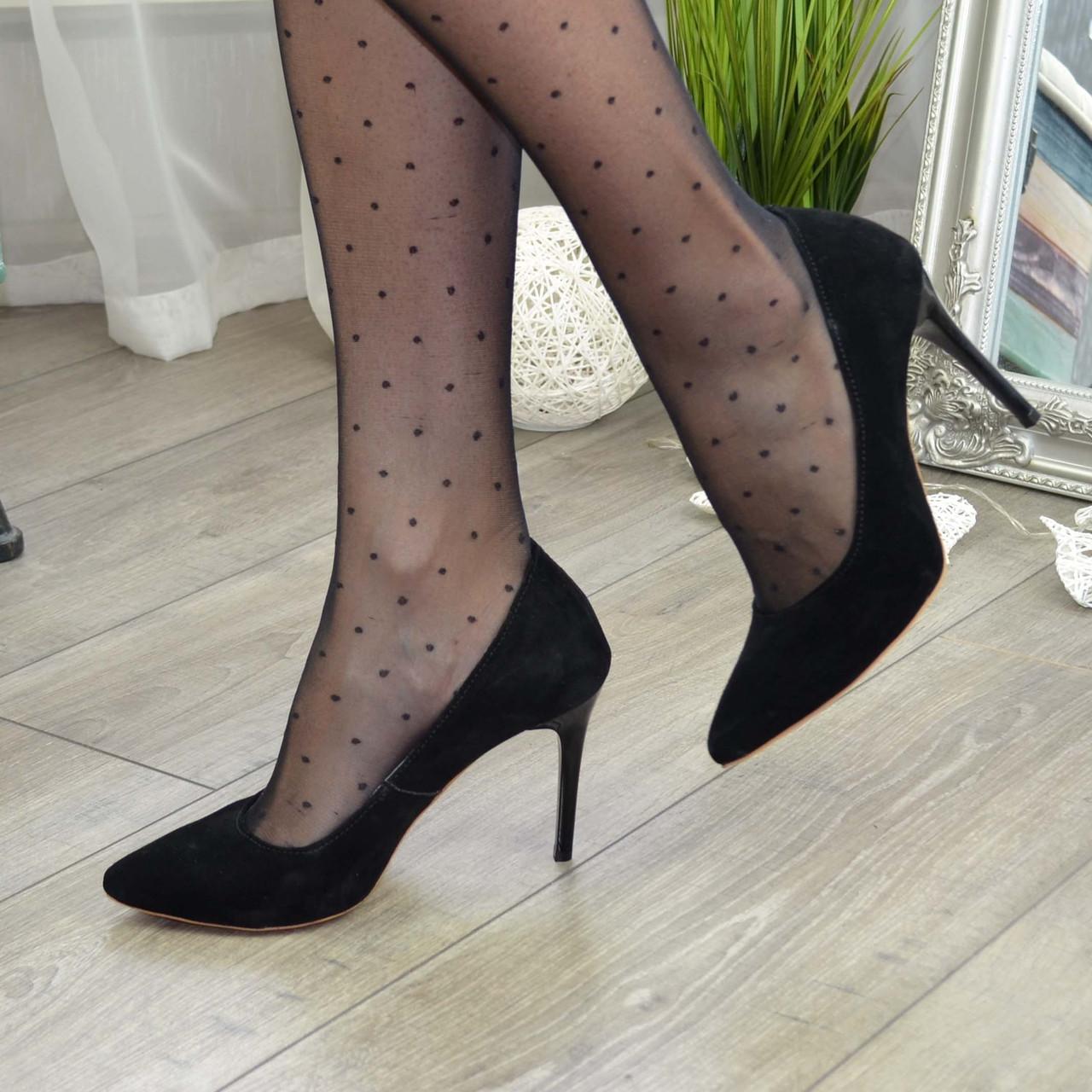 Туфли женские замшевые на шпильке, цвет черный
