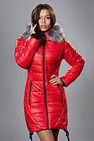 Зимняя женская молодежная куртка. Код К-62-12-16. Цвет красный.