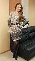 Стильное теплое женское платье с аксесуаром Турция