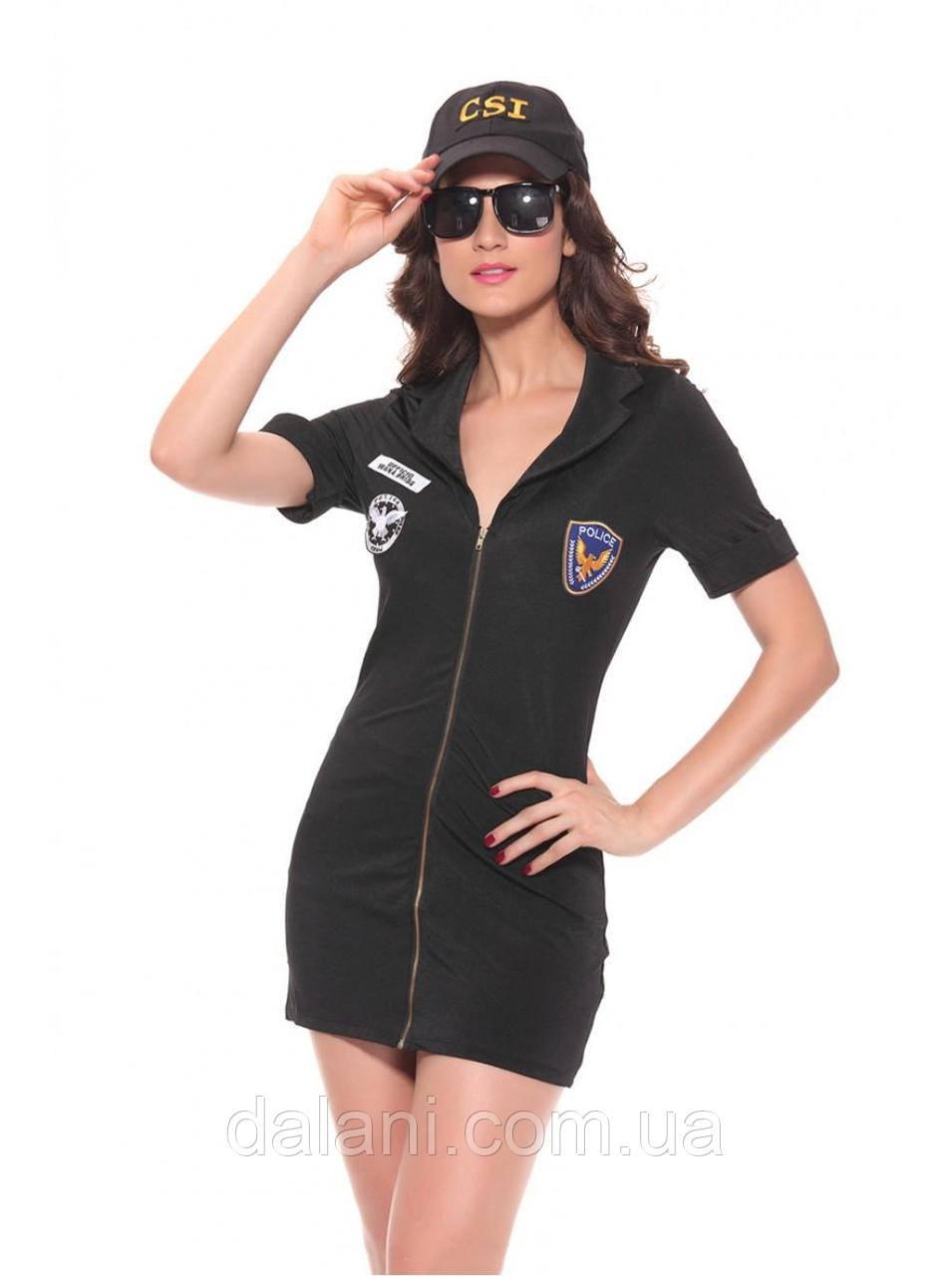 Женский чёрный костюм полицейской