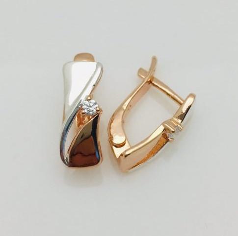 Сережки Салі, висота 14 мм, ширина 5 мм, позолота+ родій