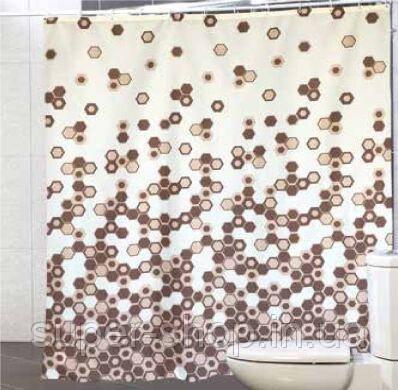 """Шторка для ванної кімнати """"Міранда"""" 180х200 см з поліестеру коричнева"""