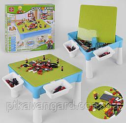 Игровой столик с конструктором Пожарная техника, детский столик для песка и воды, 407 деталей LX.A 370
