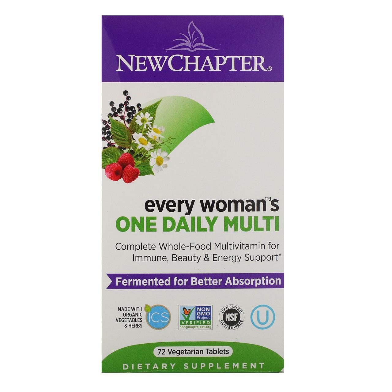 Щоденна мультивітамінна добавка для жінок, 72 вегетаріанських таблетки, New Chapter, Every Woman