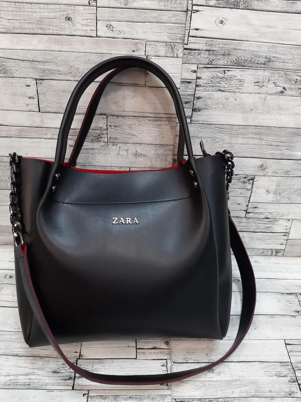 Женская Сумочка Зара Zara сумка из эко-кожи. Черная с красным