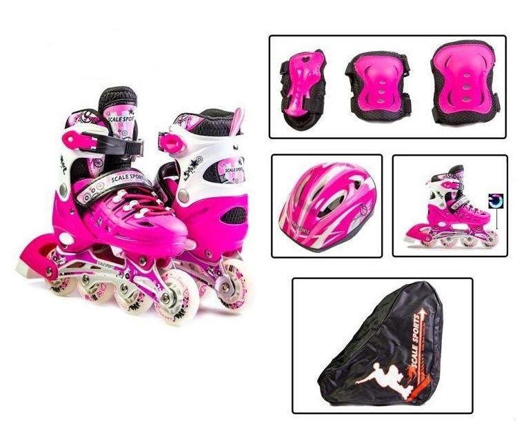 Раздвижные ролики 34-37 с комплектом защиты и шлемом Scale Sports Pink подсветка переднего колеса