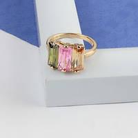 Кольцо с  крупными прямоугольными камнями светлых оттенков 17 размер