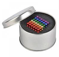 Неокуб (NeoCube) в боксе 216 шариков 5 мм цветной (радуга 6 цветов) / магнитный конструктор шарики